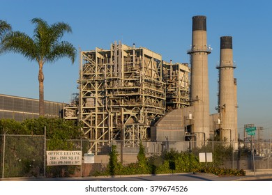 Los Angeles, USA - November 14, 2015: The Redondo Beach Power Plant, a gas-powered electricity plant owned by AES, which future is the subject of ongoing discussions and election polls.