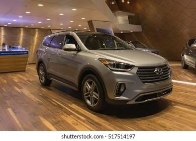 Los Angeles, USA - November 16, 2016: Hyundai Santa Fe Limited Ultimate on display during the Los Angeles Auto Show.