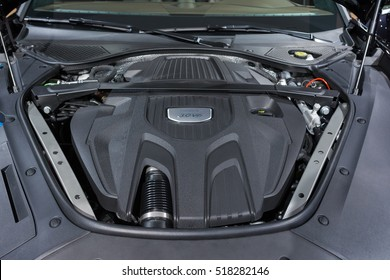 Los Angeles, USA - November 16, 2016: Porsche 3.0 V6 engine on display during the Los Angeles Auto Show.
