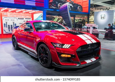 Los Angeles, USA - November 20, 2019: Mustang Shelby GT500 coupe on display during Los Angeles Auto Show.