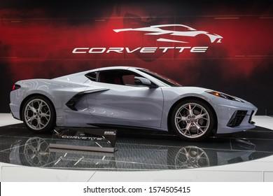 Los Angeles, USA - November 20, 2019: Chevrolet Corvette C8 on display during Los Angeles Auto Show.