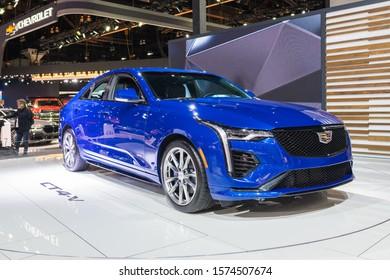 Los Angeles, USA - November 20, 2019: Cadillac CT4-V on display during Los Angeles Auto Show.
