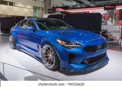 Los Angeles, USA - November 30, 2017: Kia Stinger on display during LA Auto Show at the Los Angeles Convention Center.