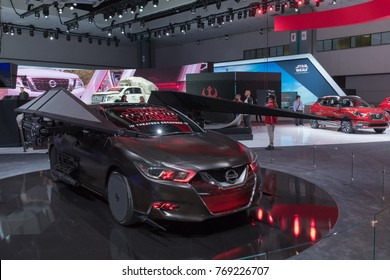 Los Angeles, USA - November 30, 2017: Nissan Maxima Kylo Ren TIE Silencer Star Wars on display during LA Auto Show at the Los Angeles Convention Center.