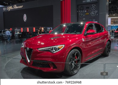 Los Angeles, USA - November 30, 2017: Alfa Romeo Stelvio on display during LA Auto Show at the Los Angeles Convention Center.