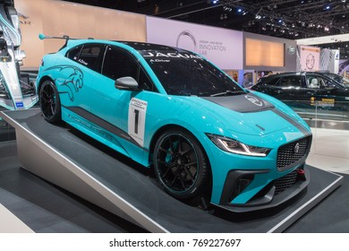 Los Angeles, USA - November 30, 2017: Jaguar I-Pace eTrophy  on display during LA Auto Show at the Los Angeles Convention Center.