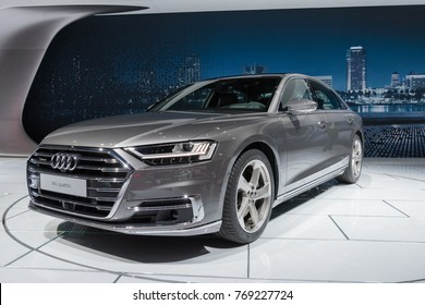 Los Angeles, USA - November 30, 2017: Audi A8 L Quattro on display during LA Auto Show at the Los Angeles Convention Center.