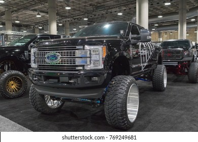 Los Angeles, USA - November 30, 2017: Ford big truck custom  on display during LA Auto Show at the Los Angeles Convention Center.