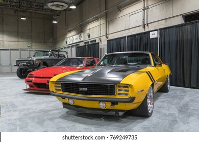 Los Angeles, USA - November 30, 2017: Muscle Car Garage  on display during LA Auto Show at the Los Angeles Convention Center.