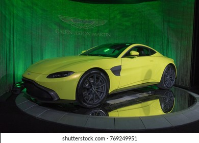 Los Angeles, USA - November 30, 2017: Aston Martin Vantage 2018 on display during LA Auto Show at the Los Angeles Convention Center.