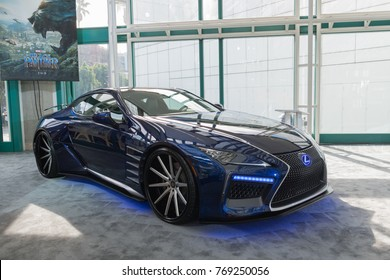Los Angeles, USA - November 30, 2017: Lexus LC Black Panther on display during LA Auto Show at the Los Angeles Convention Center.