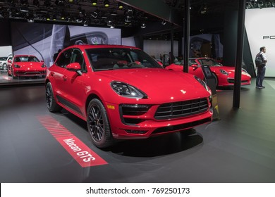 Los Angeles, USA - November 30, 2017: Porsche Macan GTS on display during LA Auto Show at the Los Angeles Convention Center.