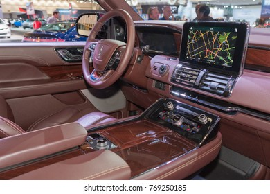 Los Angeles, USA - November 30, 2017: Lincoln Navigator interior on display during LA Auto Show at the Los Angeles Convention Center.