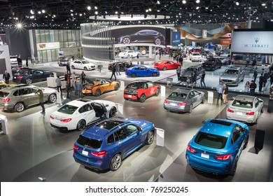 Los Angeles, USA - November 30, 2017: Aerial view on display during LA Auto Show at the Los Angeles Convention Center.