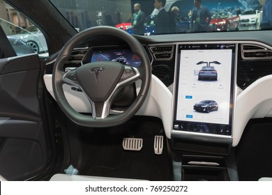 Los Angeles, USA - November 30, 2017: Tesla Model 3 interior on display during LA Auto Show at the Los Angeles Convention Center.