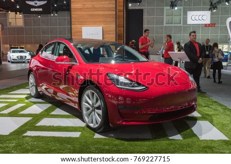 Los Angeles, USA - November 30, 2017: Tesla Model 3 on display during LA Auto Show at the Los Angeles Convention Center.