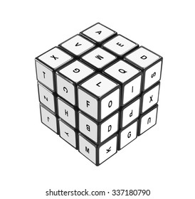 LOS ANGELES , USA - NOVEMBER 9, 2015  Rubik's puzzle cube with letters isolated on white background. Rubik's Cube invented by a Hungarian architect Erno Rubik in 1974.