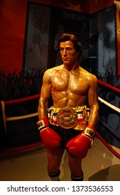LOS ANGELES, USA - OCT 08, 2015: Sylvester Stallone as Rocky Balboa in Madame Tussauds Hollywood wax museum. Marie Tussaud was born as Marie Grosholtz in 1761