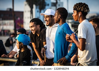 Los Angeles, USA - Oct 22, 2016: A group of skateboarders at Venice Beach Skate Park in Los Angeles, California, USA