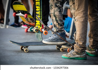 Los Angeles, USA - Oct 22, 2016: A skateboarder in action at Venice Beach Skate Park in Los Angeles, California, USA