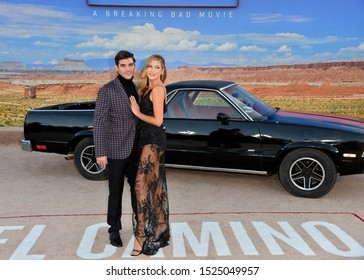 "LOS ANGELES, USA. October 08, 2019: RJ Mitte and Guest at the premiere of ""El Camino: A Breaking Bad Movie"" at the Regency Village Theatre.