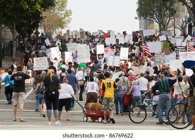 LOS ANGELES, USA - OCTOBER 15: Demonstrators March in the Occupy LA Protest through downtown Los Angeles to the City Hall on October 15, 2011.