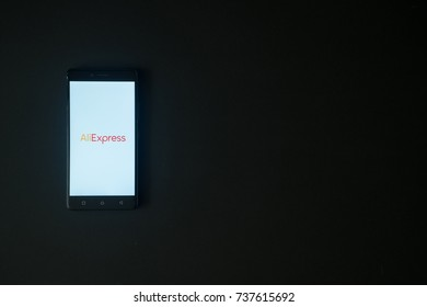 Los Angeles, USA, october 19, 2017: Aliexpress logo on smartphone screen on black background.