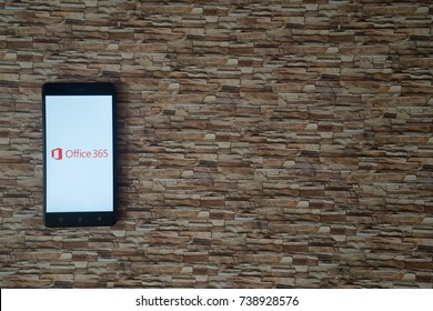 Los Angeles, USA, october 19, 2017: Microsoft office 365 logo on smartphone screen on stone facing background