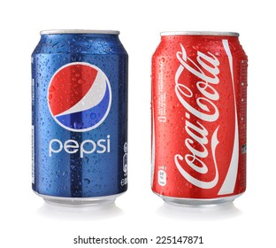 LOS ANGELES , USA - OCTOBER 21, 2014: Coca-Cola and Pepsi Cans Isolated On White