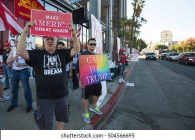 LOS ANGELES, USA - OCTOBER 22: A political rally supporting Donald Trump congregates outside a CNN building on Sunset Blvd in Hollywood, Los Angeles  on October 22nd 2016.
