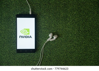 Los Angeles, USA, october 23, 2017: Nvidia logo on smartphone screen on green grass background.