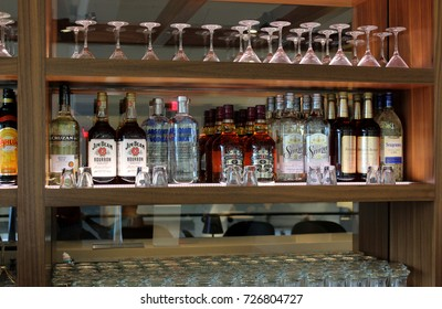 LOS ANGELES, USA – OCTOBER 24 2015: The Star Alliance business class lounge at Los Angeles Airport (LAX) offers spirits at its cocktail bar.