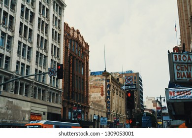 Los Angeles, USA - October 27, 2016: Overcast sky over Broadway