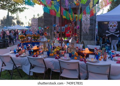 Los Angeles, USA - October 28, 2017: Altar to remember the dead  during 18th Annual Day of the Dead (Dia de los Muertos), at the Hollywood Forever Cemetery.