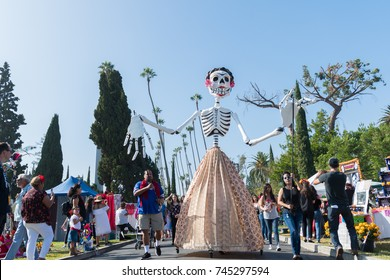 Los Angeles, USA - October 28, 2017: Skeleton sculpture during 18th Annual Dia de los Muertos, Day of the Dead, at the Hollywood Forever Cemetery.