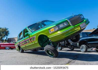 Los Angeles, USA - October 6, 2019: Lincoln Town car lowrider suspensions on display during Galpin carshow.