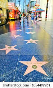 Los Angeles, USA - October 7, 2017 : View of the Hollywood Walk of Fame on the Hollywood Boulevard in Los Angeles on a sunny day on October 7, 2017. This is the most popular attraction in LA.