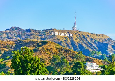 Los Angeles, USA - October 7, 2017 : View of the Hollywood Sign at Hollywood Hill on a sunny day in Los Angeles on October 7, 2017.