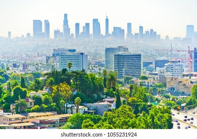 Los Angeles, USA - October 7, 2017 : View of the city center from Hollywood Hill in Los Angeles on a sunny day on October 7, 2017.