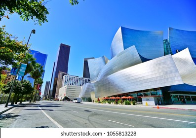 Los Angeles, USA - October 7, 2017 : View of the Walt Disney Concert Hall in the city center of Los Angeles on a sunny day on October 7, 2017.