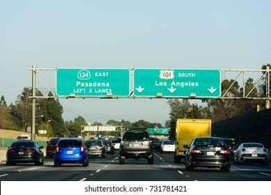 Los Angeles, USA - October 8: Freeway traffic with cars and signs in Los Angeles, Los Angeles, CA on October 8, 2017.