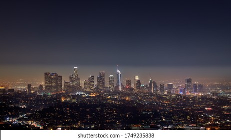 Los Angeles, USA - Sep 08, 2017; Los Angeles downtown skyline late evening view a hot hazy day. Picture taken from the Griffith Observatory.