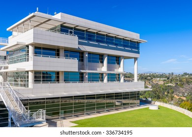 LOS ANGELES, USA - SEP 26, 2015: Exterior of the J. Paul Getty Museum (Getty Museum), an art museum in California established in 1974