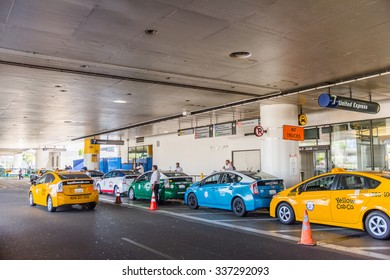 LOS ANGELES, USA - SEP 26, 2015: Taxi cab line at the Los Angeles International Airport (LAX) , the primary airport serving the Greater Los Angeles Area,