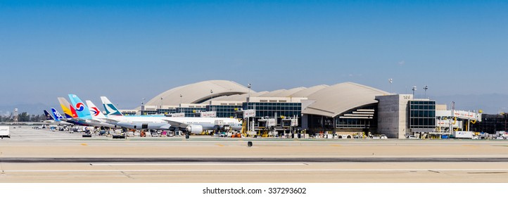 LOS ANGELES, USA - SEP 26, 2015: Los Angeles International Airport (LAX) , the primary airport serving the Greater Los Angeles Area,