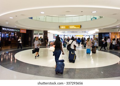 LOS ANGELES, USA - SEP 26, 2015: Arriving area of the Los Angeles International Airport (LAX) , the primary airport serving the Greater Los Angeles Area,