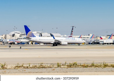 LOS ANGELES, USA - SEP 26, 2015: United airlines aircraft at the Los Angeles International Airport (LAX) , the primary airport serving the Greater Los Angeles Area,