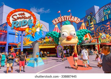 LOS ANGELES, USA - SEP 27, 2015: Krusty land at The SImpsons area of the Universal Studios Hollywood Park. The Simpsons is an American animated sitcom by Matt Groening