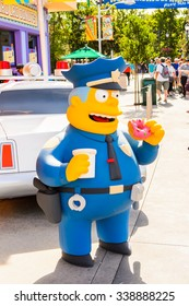 LOS ANGELES, USA - SEP 27, 2015: Police Chief Wiggum at The SImpsons area of the Universal Studios Hollywood Park. The Simpsons is an American animated sitcom by Matt Groening
