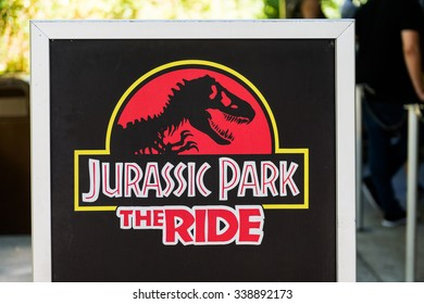 LOS ANGELES, USA - SEP 27, 2015: Jurassic Park logo in the Universal Studios Hollywood Park. Jurassic Park is a 1993 American adventure film  by Steven Spielberg